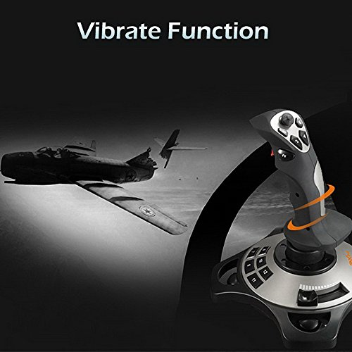 PC Joystick, YF2009 USB Game Controller with Vibration Function and Throttle Control, Wired Gamepad Flight Stick for Windows PC Computer Laptop