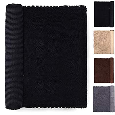 Black Bathroom Rug 20 x 31 Inches Mats Doormat for Entry Home Beadroom Pet Cat Bed Door Rugs Shaggy Chenille Pet Area Rugs Petbed Ultra Soft Water Absorbent Machine Washable Dry