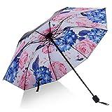 日傘 レディース 折りたたみ傘 UVカット 100% 完全遮光 花柄 晴雨兼用 紫外線カット 遮熱 大きい 100cm 日焼け対策 プレゼント ギフト (サザンカ(白))