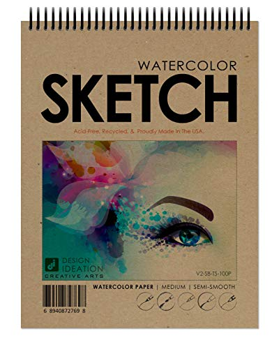 Design Ideation Watercolor Sketch Book. Spiral Bound, Watercolor Paper Sketchbook for Pencil, Ink, Marker, Charcoal and Watercolor Paints. Great for Art, Design and Education. (8.5' x 11')