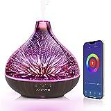 Alexa Diffusore di Aromi Wifi 400ml di 3D vetro, Ankrs Diffusore di Oli Essenziali, umidificatore ambiente profumatore alexa, smart diffusore ambiente, diffusore ultrasuoni con luce multicolore