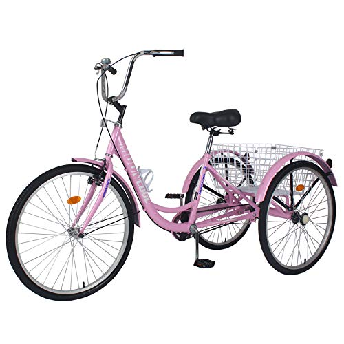 Barbella Adult Tricycles, Single Speed Adult Trikes 20 Inch 3 Wheel Bikes, Three-Wheeled Bicycles Cruise Trike with Large Shopping Basket for Seniors, Men, Women (Pink, 20' Wheels 1-Speed)