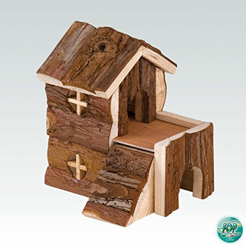 FOP Casetta in Legno Naturale per Piccoli roditori - Cm 15x10x15h