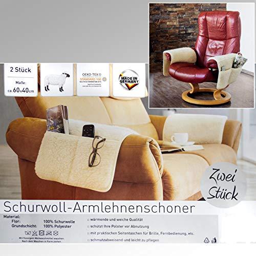 DbKW 2er Set Schurwoll- Armlehnenschoner mit Taschen, Sesselauflage, Armlehnen-Sesselschoner…