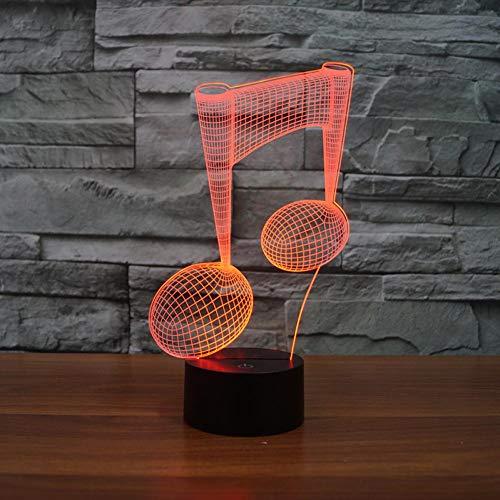 Likaxyd 3D Illusion Lampe Led Nachtlicht,Mit 7 Farben Flashing & Touch-Schalter Usb Powered,Geben Sie Ihrem Kind Das Beste Geburtstagsgeschenk Und Weihnachtsgeschenk-Fashion Noten