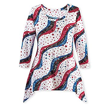 Collections Women s Stars and Stripes 3/4 Sleeve Sequin Sharkbite Top - 4th of July Patriotic Clothing Red and Blue X-Large