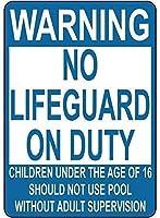 おかしい警告標識金属安全標識家のため、義務の子供にはライフガードなしプール標識を使用しない、ティンサインヴィンテージ壁の装飾カフェバーパブホームビール装飾工芸品レトロヴィンテージサイン