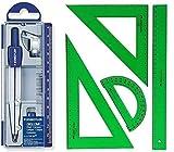 Pack/Set-Compás Escolar de Precisión Staedtler 550 + Conjunto con: Escuadra, Cartabón, Regla y Semicírculo, Color Verde (60)
