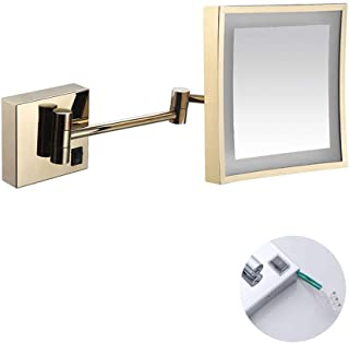 Makeup Mirror, Wall Mounted Mirrors Makeup Shaving Mirror LED Lighted for Hotel Vanity with Adjustable Extendable Square 8 inch 3X Magnification Surface Chrome Finish