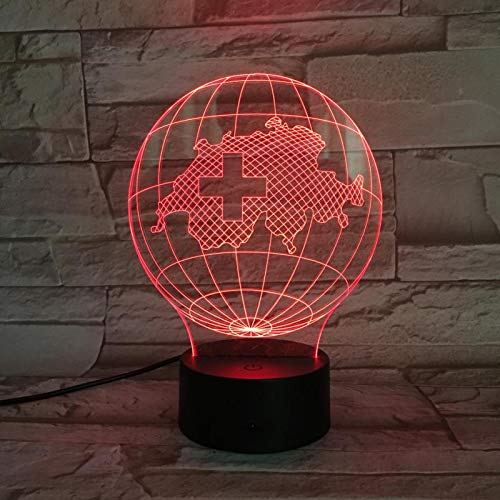 3D Optical Illusion Lamp Country Map Switzerland Night Light Home Decor Led Bedside Table Lamp Best Birthday Christmas Gifts for Kids Boys Girls 16 Colours Dimmable Smart Touch Switch USB Powered