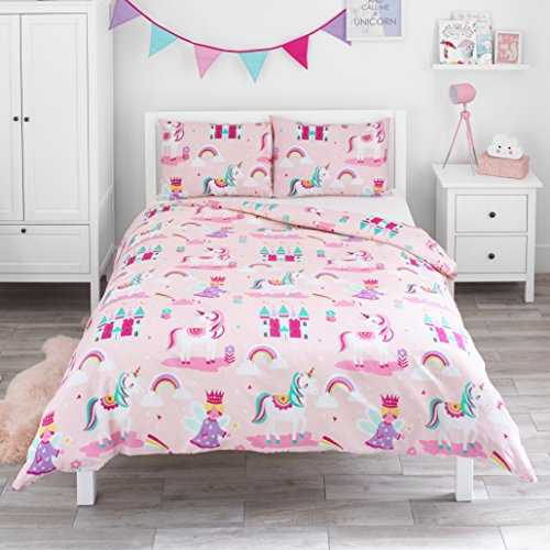 Bloomsbury Mill - Magic Unicorn, Fairy Princess & Enchanted Castle - Kids Bedding Set - Pink - Double Duvet Cover and 2 Pillowcases