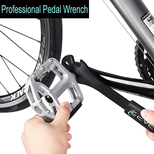 Bike Pedal Wrench Extra Long Handle - Pedal Spanner Double Wrench for MTB/Road Bike - Cycling Bicycle Repair Tool for Bike Pedals Removal and Replace