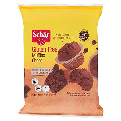 Dr. Schar Muffin Magdalenas de chocolate SIN GLUTEN - Paquete de 4 x 65 gr - Total: 260 gr
