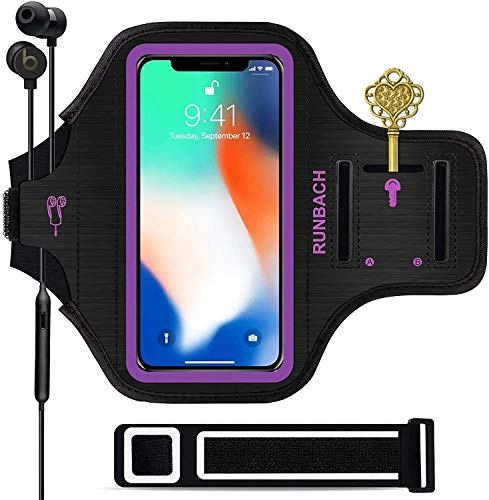 RUNBACH Compatible with iPhone 12 Mini/iPhone 11 Pro/iPhone X/XS Armband,Sweatproof Running Exercise Gym Bag with Fingerprint Touch and Card Slot for iPhone 11 Pro/12 Mini/X/XS(Purple)