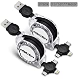 Micro USB Cable, ASICEN 2 Pack 3-in-1 Retractable Lightning to USB Cable Type C Sync Fast Charging Cord for iPhone, iPad Mini/Pro/Air, Samsung, Moto, Blackberry, Nokia, LG, Google, HTC (Black)