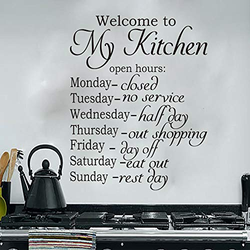 JXAA Große Küche Öffnungszeiten Zitat Wandaufkleber Esszimmer Wohnzimmer Induktionsherd Hacken Kochen Kochen Küche Angebot Wandaufkleber Vinyl 56cmhighx44cmwide