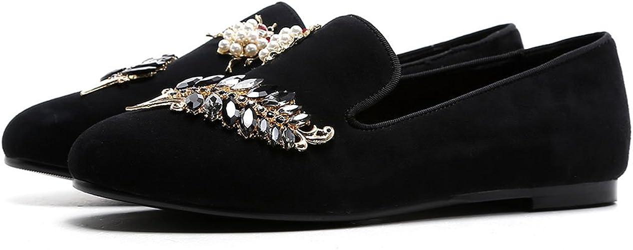 GAOLIXIA Cuir Femmes Décontracté Chaussures Printemps été Mode Strass Perle Plat Chaussures en Plein Air Occasionnel Simple Chaussures Parti Soir Bureau Travail Chaussures