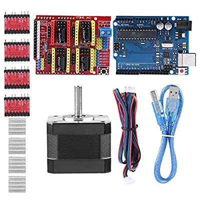 3D Printer Kits CNC Shield V3.0 + R3 Board + Nema 17 Stepper Motor + 4PCS A4988 Driver + Stepper Motor Controller Shield Kit with Heat Sink for Quimat Arduino
