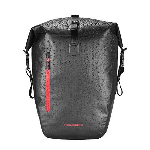ROMAN Bicycle Bag Luggage Carrier Bag 25L with Shoulder Strap Waterproof Luggage Carrier Bag Bicycle Rear Pannier (Black)