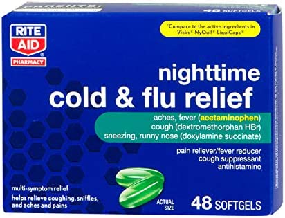 Rite Aid Multi Symptom Nighttime Cold Flu Relief Softgels 48 Count Pain Aches Fever and Cough product image