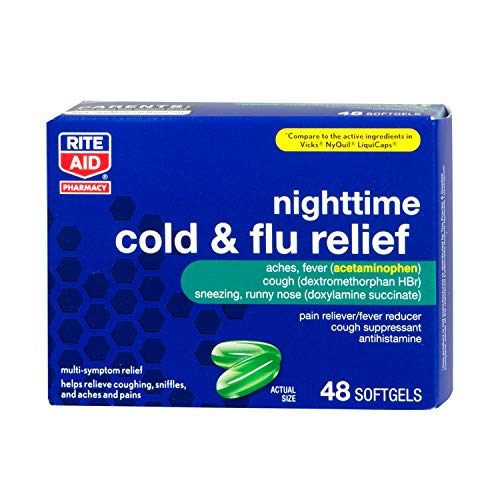 Rite Aid Multi-Symptom Nighttime Cold & Flu Relief, Softgels - 48 Count | Pain, Aches, Fever and Cough Relief | Sinus Medicine for Adults | Real Time Pain Relief | Mucus Relief | Sinus Headache Relief