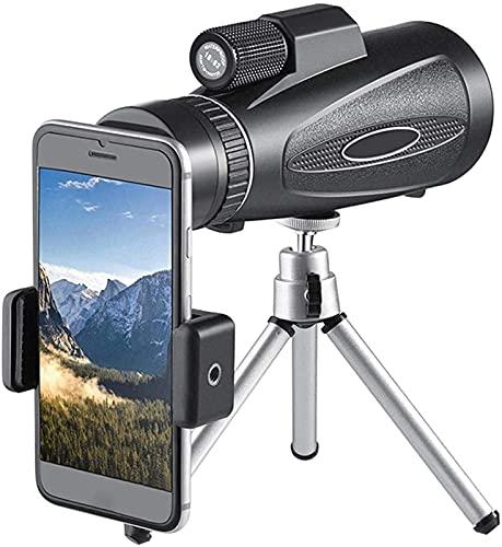 FHISD Telescopio de Enfoque Manual monocular 18X62, Lentes de Cristal de Prisma BAK4 a Prueba de Agua con trípode Adaptador para teléfono Inteligente, para observación de Aves