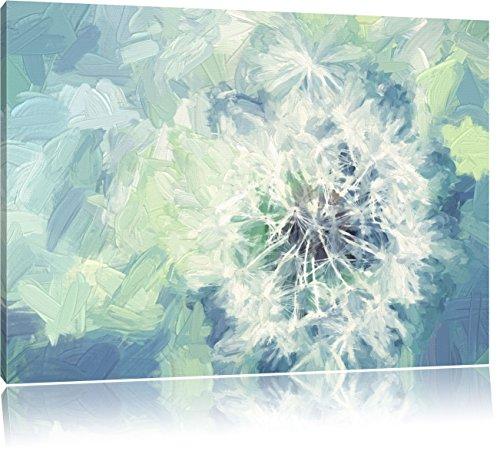Pixxprint Löwenzahn Nahaufnahme auf natürlichen Hintergrund Kunst Pinsel Effekt, Format: 100x70 auf Leinwand