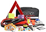 CYECTTR Car Roadside Emergency Kit,Auto Vehicle Safety Road Side Assistance Kits with Jumper Cables,Safety Hammer,Reflective Warning Triangle,Tire Pressure Gauge,Tow Rope,etc