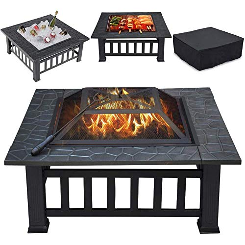 Outdoor Fire Pit, 32'' Square Metal Firepit Table, Wood Burning Stove BBQ Table, Suitable for Backyard Garden Camping Party