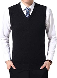 Classic Mens Gilet V-Neck Sleeveless Jumper Business Vest Knitwear Cardigans Knitted Waistcoat Sweater Tank Tops