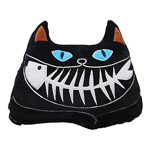Iwinna Fish Bones Cat with Luminous Eyes Eating Fish Stuffed Plush Soft Toy Car Sofa Chair Seat Cushion/Pillow (Black Cat)