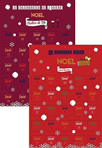 Calendrier de l'avent Noel x2 Gourmet alimentaire - vin et 25 recettes de cuisine - Noel adulte homme couple - 25 jours