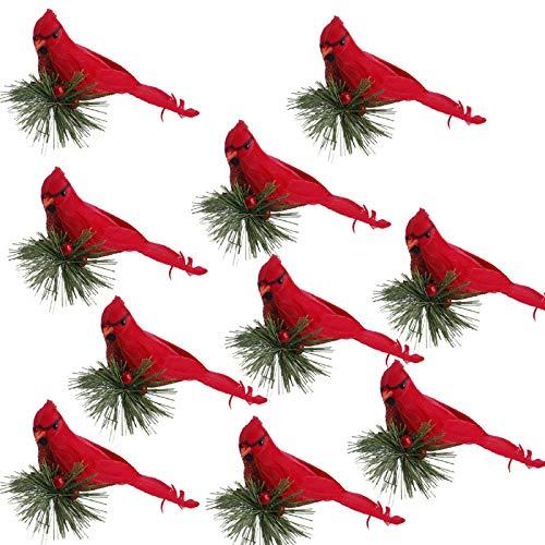UNIE 10Pcs Red Cardinal Bird Christmas Ornament, Artificial Christmas Cardinal Birds with Clip Red Berry Pine Stem for DIY Crafts Holiday Decor