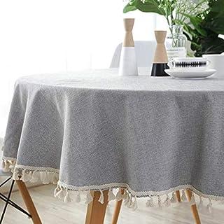 Yllang Style Japonais Simple Nappe Ronde Coton Lin Table Tissu Solide Table Basse Couverture Tassel Linge de Table cirée N...
