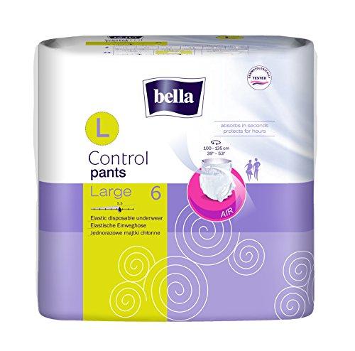 bella Control Pants Large Einweghose für mittlere bis schwere Blasenschwäche. Größe Large, 1er Pack (1 x 6 Stück), Komfort