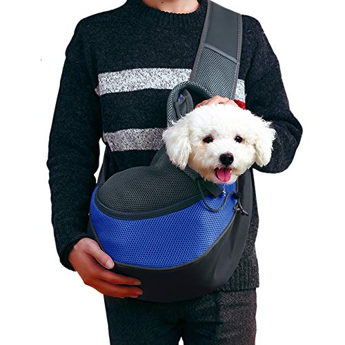 Pet Dog Sling Carrier Small Cat Sling Pet Carrier Bag Breathable Comfortable Adjustable Pouch Safe Sling Bag Carrier (Small Up to 5lbs)