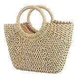 WFQ Bolsa pequeña Bolsas de paja para mujer 2019 Summer Rattan Bag Handmade Woven Beach Bag Handbag S Brown