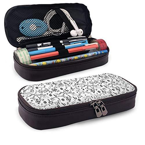 Estuche para lápices de notas musicales para niñas y niños, bolsa de cuero