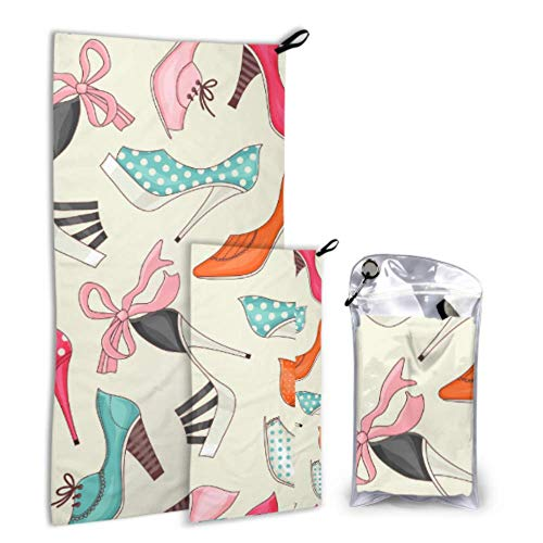 Limiejo Women Shoes Series with Floral Decorative Beauty 2 Pack Microfiber Shower Towel Camping Womens Towel Set Fast Drying Best for Gym Travel Backpacking Yoga Fitnes