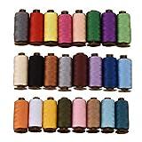 sharprepublic 24 Teile Nähgarn Nähmaschinengarn Farbset Faden Spule Ledergarn Nähfaden