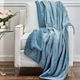 The Connecticut Home Company Soft Micromink Velvet with Sherpa Reversible Bed Throw Blanket, Fluffy Large Luxury Blankets, Fuzzy Washable Throws for Couch, Beds, Home Bedroom Decor, 65x50, Slate Blue