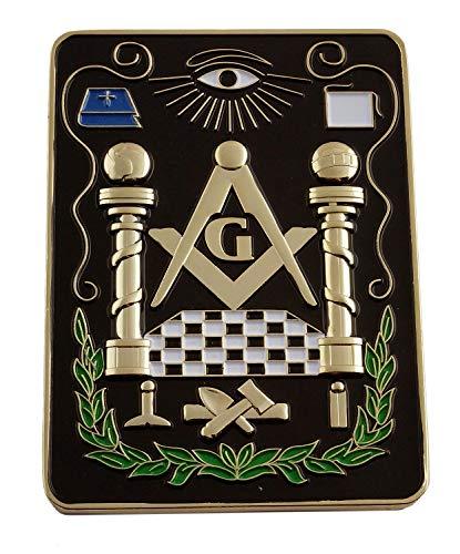 Lodge All Seeing Eye Square Masonic Auto Emblem - [Black & Gold][4'' Tall]