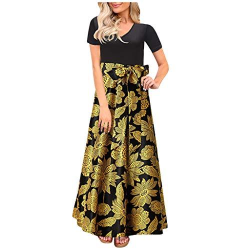 Dasongff Dames zomerjurk Boho jurk V-hals maxikleding High Waist Patchwork print Lange avondjurk strandjurk elegante jurk Streetwear cocktailjurk met riem Small zwart
