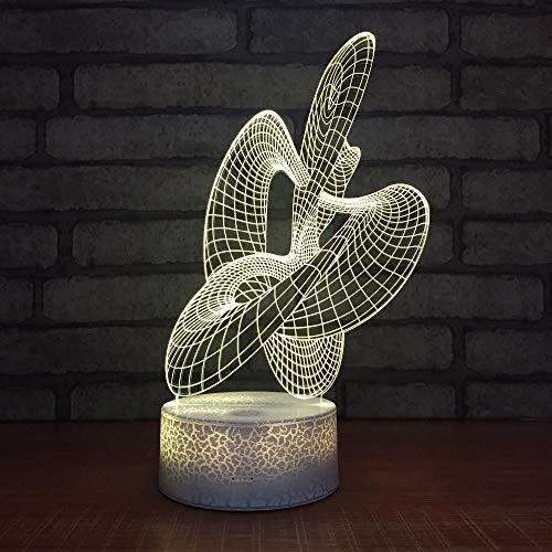 3D Night Light Space,Kreative Abstrakte 3D Illusion Nachtlicht Led 3D Stimmung Lampe 7 Farben Touch Schalter Schlafzimmer Beleuchtung Für Kinder Geschenk