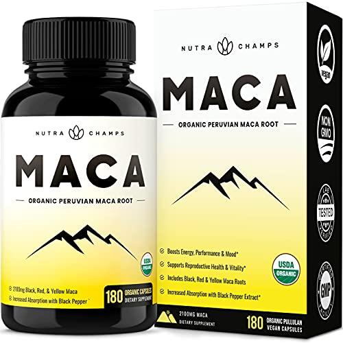 Organic Maca Root Powder 2100 MG [USDA Certified 180 Capsules] Energy & Mood Supplement for Men & Women - Vegan Pills, Peruvian Gelatinized Maca Powder + Black Pepper Extract for Superior Results