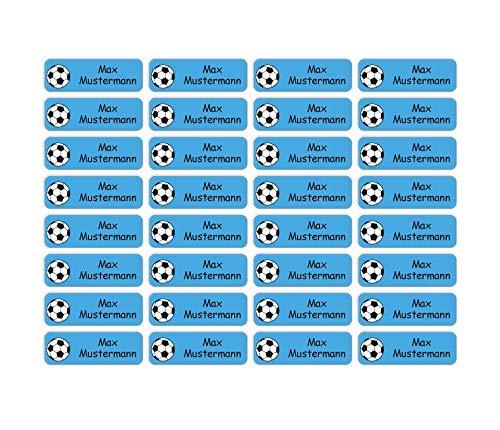 Sunnywall® Namensaufkleber Namen Sticker Aufkleber Sticker 4,8x1,6cm   60 Stück für Kinder Schule und Kindergarten 38 Hintergründe zur Auswahl (03 Fußball)