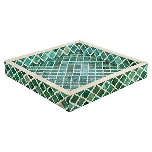 Plateau décoratif - Petit Déjeuner - Dessus de table à café Maure Marocain - Motif fait à la main - 4 feuilles d'incrustation d'os - tout usage, 30,5 x 30,5 cm, Résine, vert/blanc, 12x12