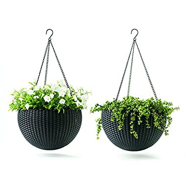 Keter 237997 Hanging Planter Set, Graphite