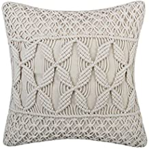 JWH Hand Woven Cushion Cover Decorative Woolen Yarn Cable Knitted Accent Pillow Case Home Sofa Bed Living Room Chair Decor PillowcasesSquare 18 x 18 Inch