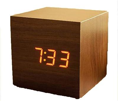 Madera Despertador LED Reloj De Control De Voz Termometro Luminoso Electrónica La Moda Despertador Oficina Aprendiendo